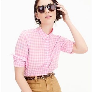 J. Crew pink/ white gingham boy fit button up 6